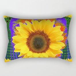 GREEN-PURPLE YELLOW SUNFLOWER MODERN ART Rectangular Pillow
