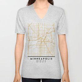 MINNEAPOLIS MINNESOTA CITY STREET MAP ART Unisex V-Neck