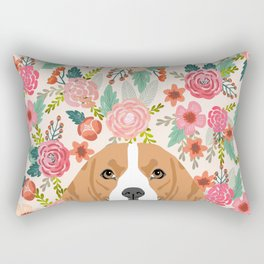 Beagle floral dog breed pet lover dog head with flowers beagles gifts Rectangular Pillow