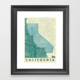 California State Map Blue Vintage Framed Art Print