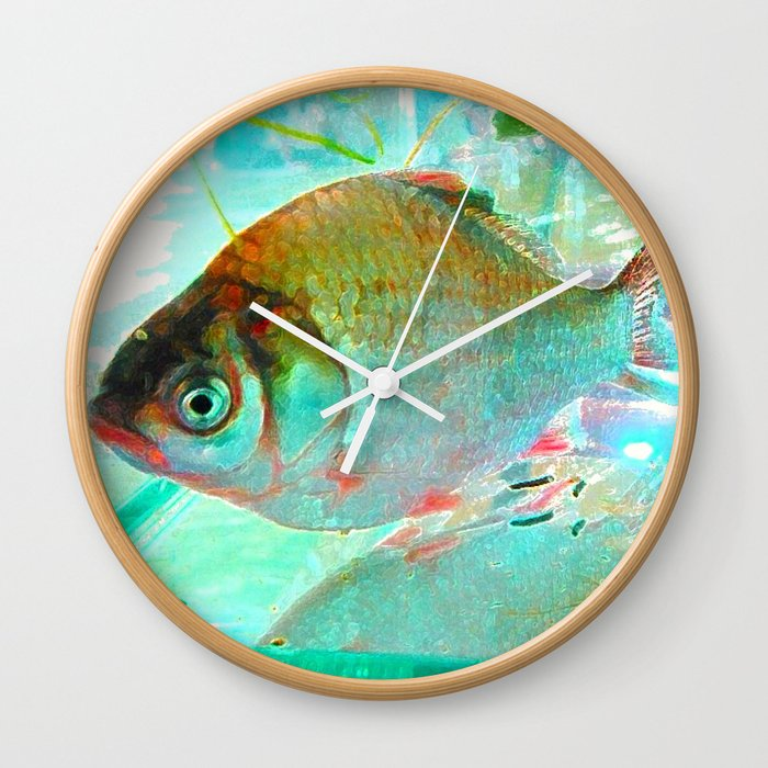With a goldfish and small prawns Wall Clock