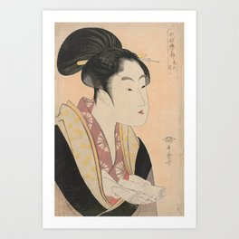 Vintage Japanese Ukiyo-e Woodblock Print Woman Portrait II Art Print