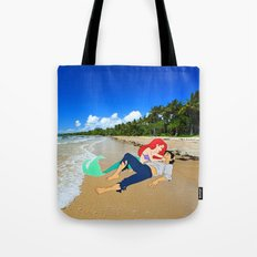 The Little Mermaid Ariel and Eric on the Beach Tote Bag