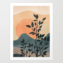 Orange Rising Sun Art Print