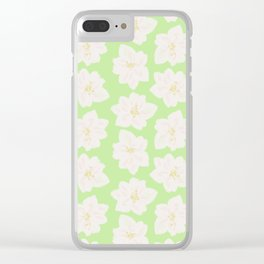 Watercolor Magnolias in Key Lime Clear iPhone Case