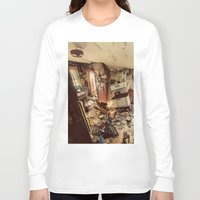 kitchen Long Sleeve T-shirts featuring Chaotic Kitchen by Shaun Lowe