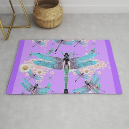 DELICATE BLUE DRAGONFLIES LILAC DAISY FLOWERS ART Rug