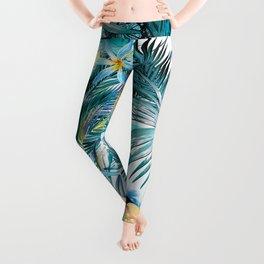 Hawaiian Island-Style Tropical Floral & Leaf Print Leggings