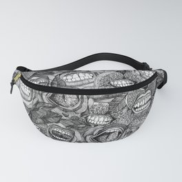 BITE ME roses and orchids BLACK WHITE Fanny Pack