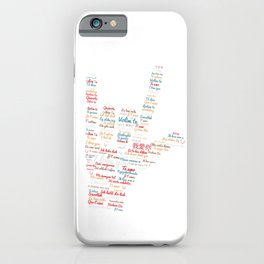ASL I love you in different languages design ASL Love sign iPhone Case
