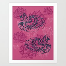 Hamsa, the swan Art Print