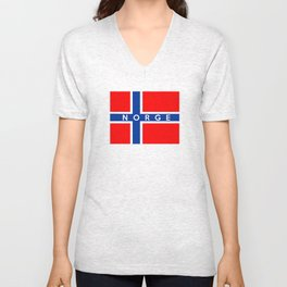 norway country flag norge name text Unisex V-Neck