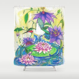 Lotus Hummingbird  Shower Curtain