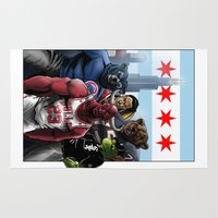 blackhawks Area & Throw Rugs featuring Chicago Sports by Carrillo Art Studio