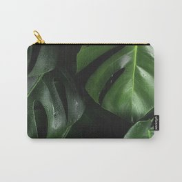 Tropical Monstera Leaves Wet Supple Foliage Dark Dense Forest Carry-All Pouch