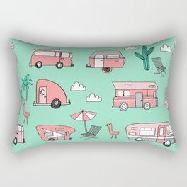 Camper summer vacation tropical pattern RV van life print by andrea lauren Rectangular Pillow