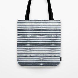 Simply Shibori Stripes Indigo Blue on Lunar Gray Tote Bag