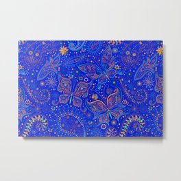 Blue Spring Butterfly Pattern Metal Print