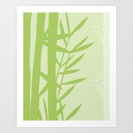 Green Bamboo Drawing Art Print
