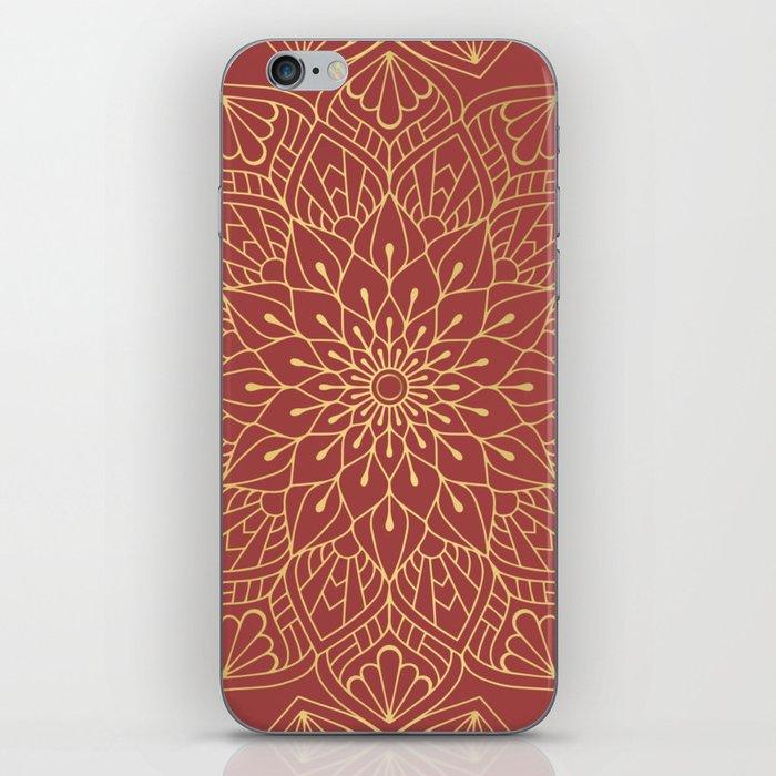 Gold Mandala Pattern On Cherry Red iPhone Skin