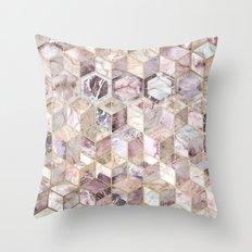 Blush Quartz Honeycomb Throw Pillow