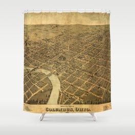 Birds eye view of Columbus, Ohio (1872) Shower Curtain