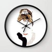 audrey Wall Clocks featuring Audrey by Bethany Mallick