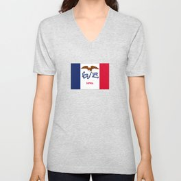 flag of Iowa, america, usa, midwest,Council Bluffs, Iowan,Des Moines,Cedar Rapids,Davenport,sioux Unisex V-Neck