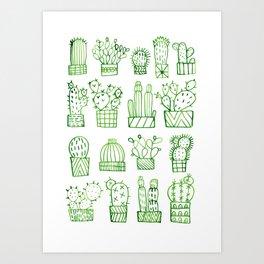 Cacti Collection Art Print