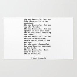 She was beautiful by F. Scott Fitzgerald #minimalism #poem Rug