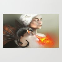 mother of dragons Area & Throw Rugs featuring mother of dragons  by KazuneKoi