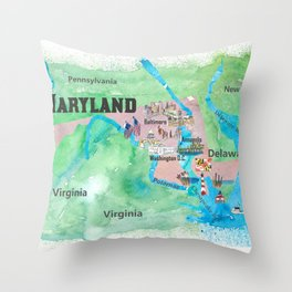 USA Maryland State Travel Poster Map with Touristic Highlights Throw Pillow