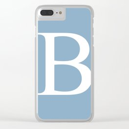 Letter B sign on placid blue color background Clear iPhone Case