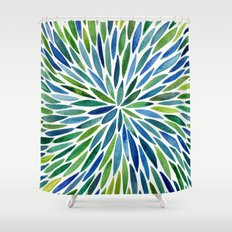 Watercolor Burst – Blue & Green Shower Curtain
