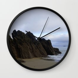 Ocean Rocks with Geological Layers Wall Clock