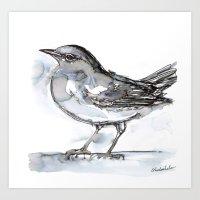 Bird with Heart Echo, Watercolor Art Print