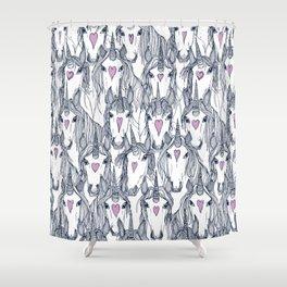 unicorn love navy orchid Shower Curtain