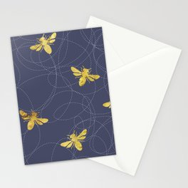 Flying Gold Bees On A Dark Blue Background Stationery Cards