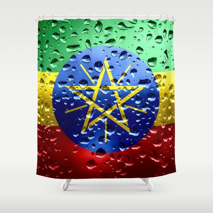 Flag of Ethiopia - Raindrops Shower Curtain