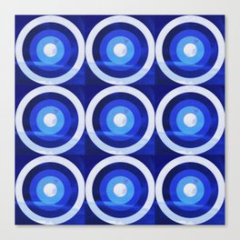 HOMEMADE 70S BLUE TARGET PATTERN Canvas Print