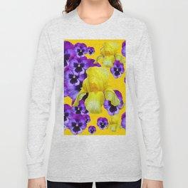 GOLDEN YELLOW IRIS PURPLE PANSY GARDEN Long Sleeve T-shirt