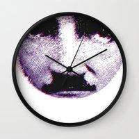 eddie vedder Wall Clocks featuring Eddie looks sad by fabiodicampli