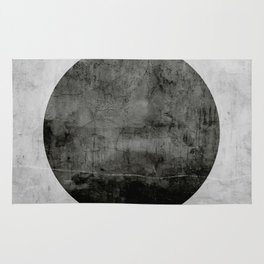 Concrete with black circle Rug