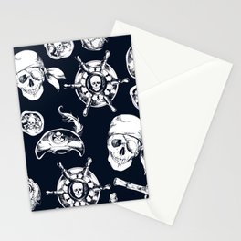 Navy Blue Pirate Pattern Stationery Cards