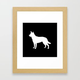 Australian Kelpie dog silhouette dog breed pattern black and white kelpie dog Framed Art Print