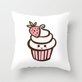 Happy Strawberry Cupcake Throw Pillow