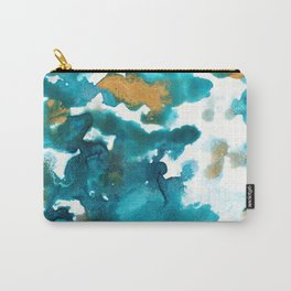 Aqua Teal Gold Abstract Painting #1 #ink #decor #art #society6 Carry-All Pouch