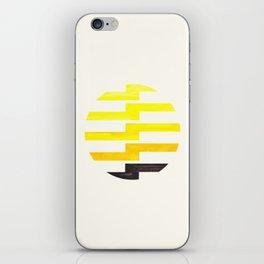 Minimalist Mid Century Circle Frame Yellow Zig Zag Colorful Lightning Bolt Geometric Pattern iPhone Skin