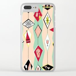 Mid Century Modern, Retro, Martini, Pink,Turquoise, Red Black Clear iPhone Case
