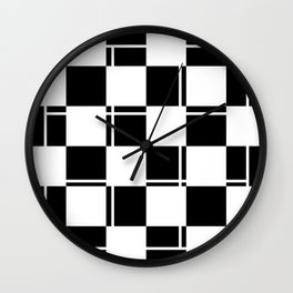 Black and white squares, crosses and lines Wall Clock